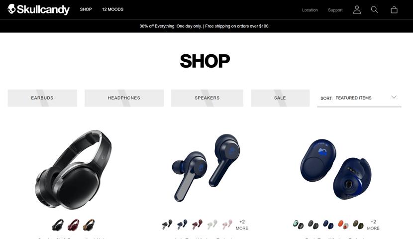 skullcandyminimalist ecommerce website