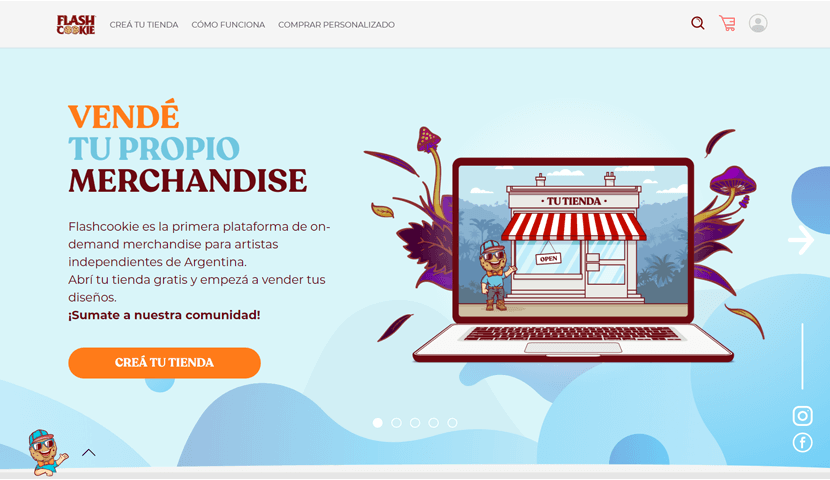 flashcookie ecommerce website with illustrations