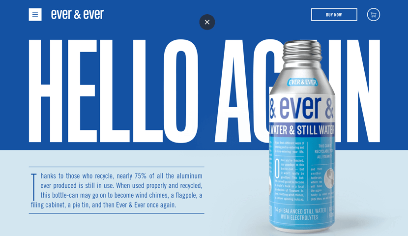 drinkeverandever blue ecommerce website design