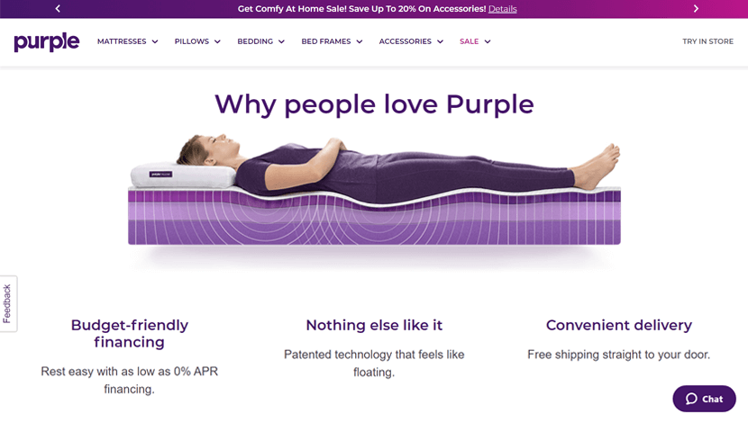 purple ecommerce website design