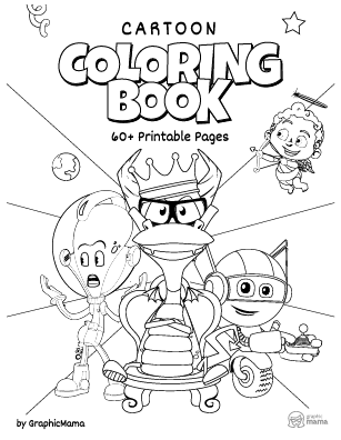 Cartoon coloring page free printable Сheet cover