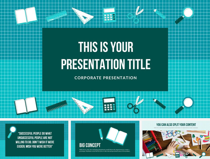 School Supplies Free PowerPoint Template
