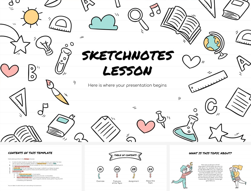 Sketchnotes Lesson Free PowerPoint Template for teachers