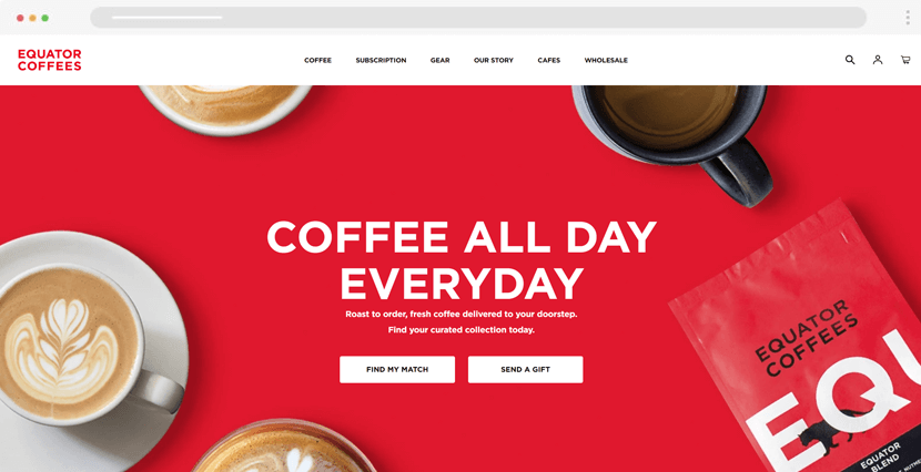 equatorcoffees - colorful ecommerce website