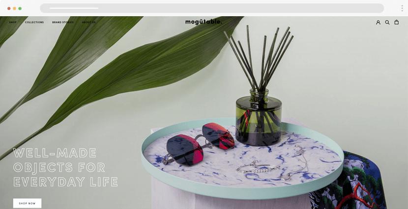 mogutable - modern ecommerce website design