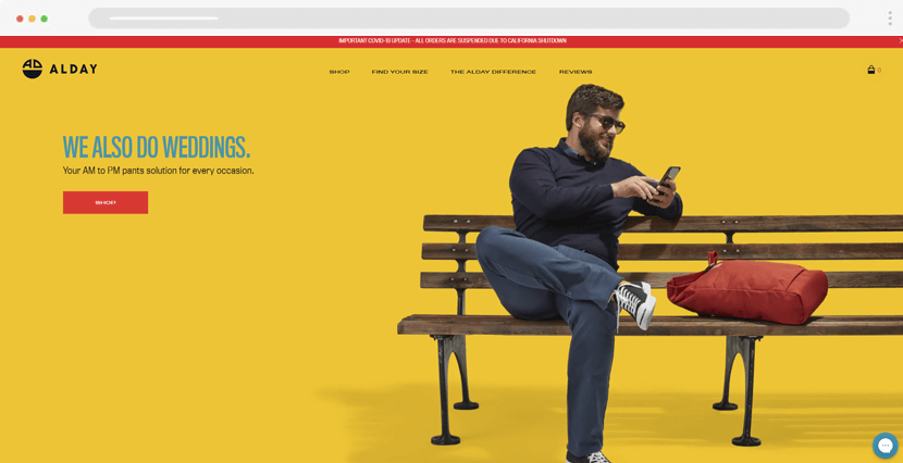 alday - ecommercce website design with product previews