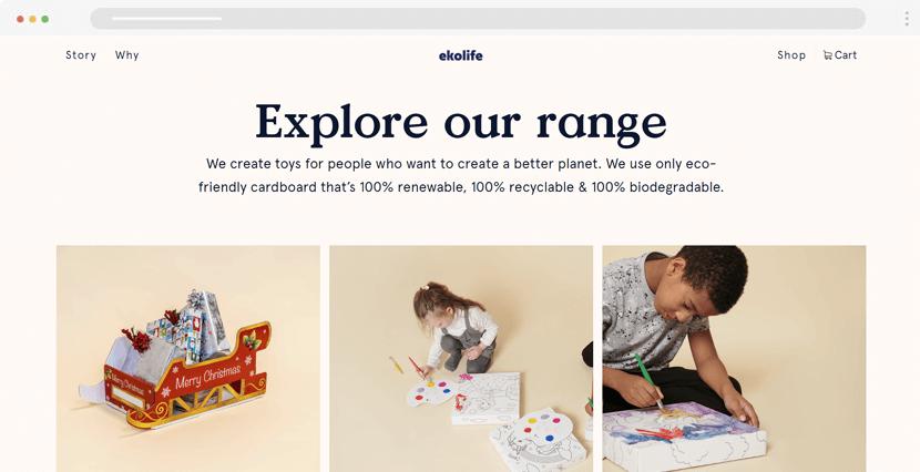 ekolife ecommerce website example