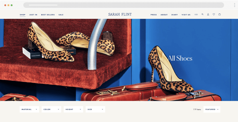 sarahflint - shoe store ecommerce website design