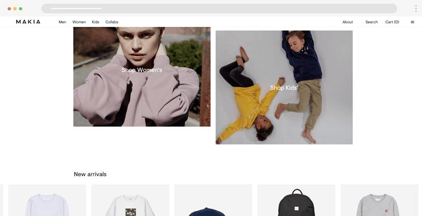 makia - minimal ecommerce website design