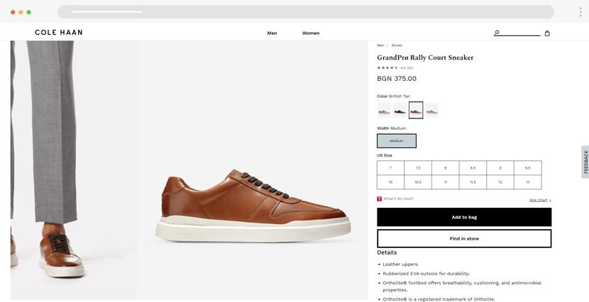 colehaan - online store website design