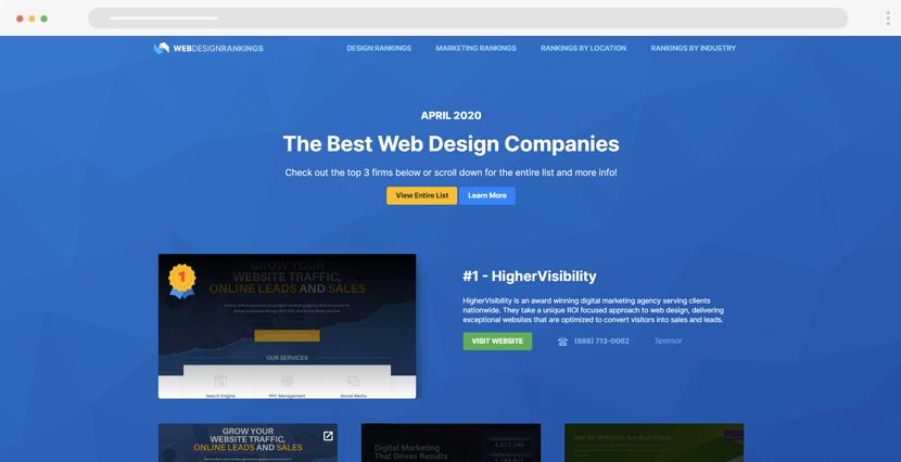 WebDesignRankings - ranking lists