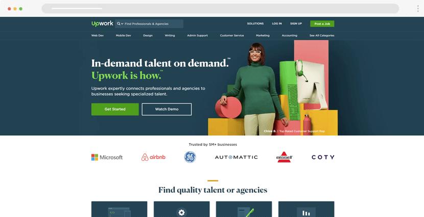 UpWork - freelancers and design agencies