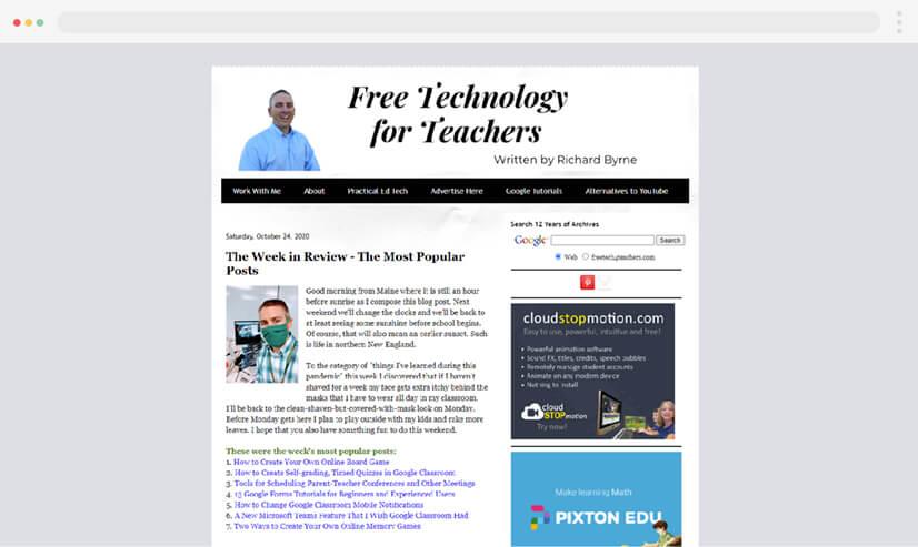 Free Tech 4 Teachers educational blog
