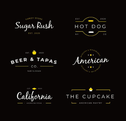 Set of Retro Free Logo Templates