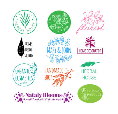 Set of Free Organic and Nature Logo Templates
