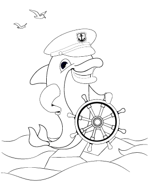 Dolphin Cartoon Coloring Page Free Printable Sheet