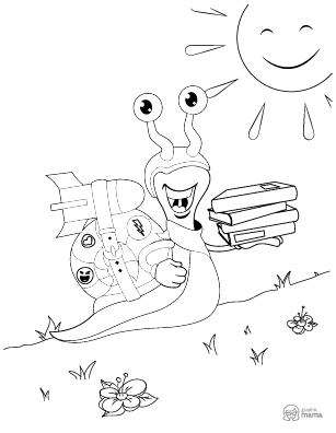 Snail Cartoon coloring page free printable Sheet
