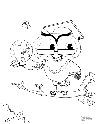 Owl Cartoon coloring page free printable Sheet