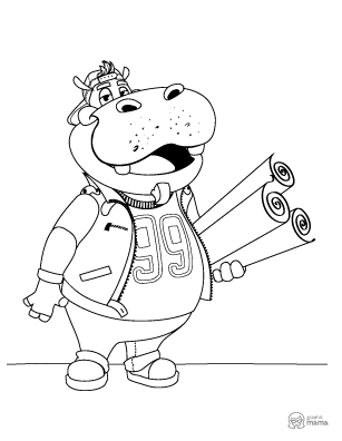 Hippo Cartoon coloring page free printable Sheet