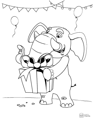 Elephant Cartoon coloring page free printable Sheet