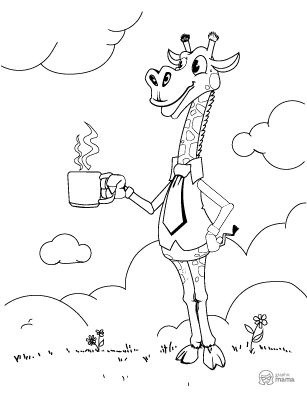 Funny Giraffe Cartoon coloring page free printable Sheet