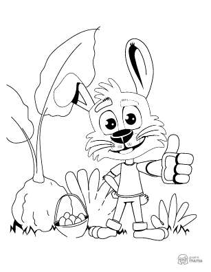 Cute Bunny Cartoon coloring page free printable Sheet