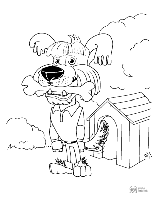 Happy Dog Cartoon coloring page free printable Sheet