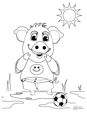 Cute Pig Cartoon coloring page free printable Sheet
