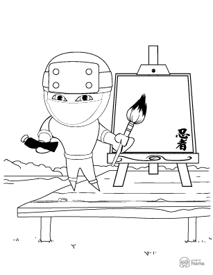 Fun Ninja Cartoon coloring page free printable Sheet