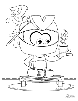 Ninja Kid Cartoon coloring page free printable Sheet