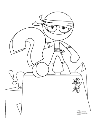 Cool Ninja Cartoon coloring page free printable Sheet