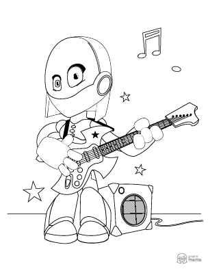 Female Robot Cartoon coloring page free printable Sheet