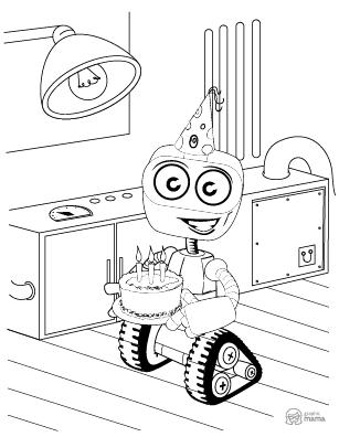 Funny Robot Cartoon coloring page free printable Sheet