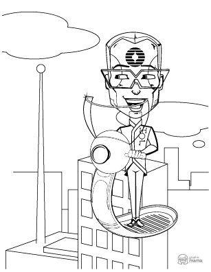 Cyborg Cartoon coloring page free printable Sheet