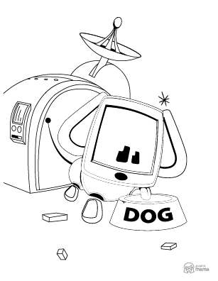 Robo Dog Cartoon coloring page free printable Sheet