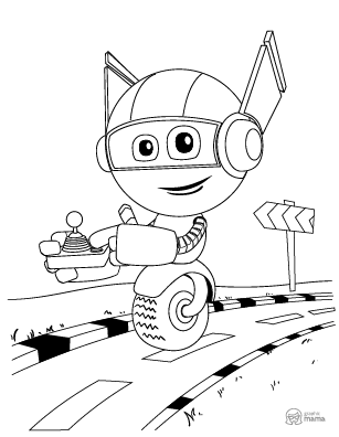 Cute Robot Cartoon coloring page free printable Sheet