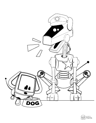 Robot Dog Police Cartoon coloring page free printable Sheet