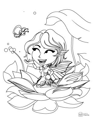 Cute fairy Cartoon coloring page free printable Sheet