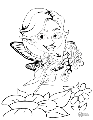 Pretty Fairy Girl Cartoon coloring page free printable Sheet