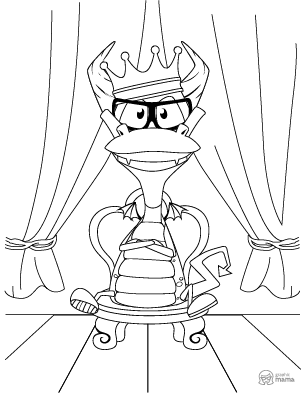 Fun Dragon King Cartoon coloring page free printable Sheet