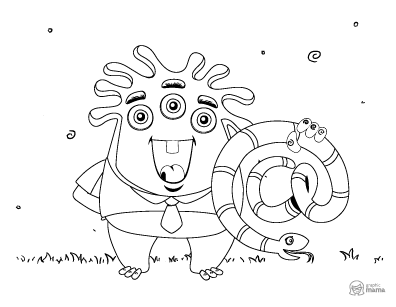 Cute Monster Cartoon coloring page free printable Sheet