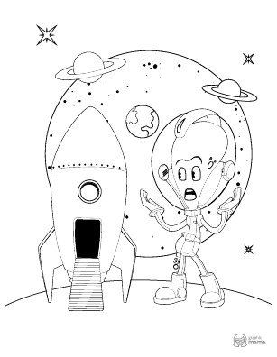 Cute Alien Cartoon coloring page free printable Sheet