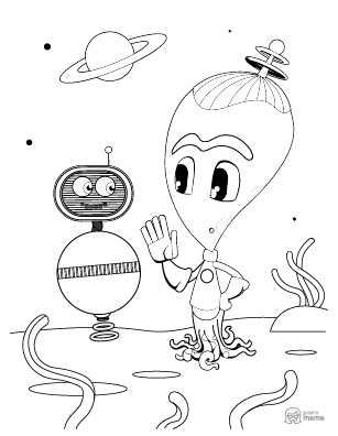 Funny Baby Alien Cartoon coloring page free printable Sheet
