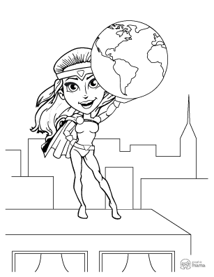 Superhero Girl Cartoon coloring page free printable Sheet