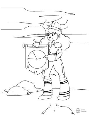 Viking Girl Cartoon coloring page free printable Sheet