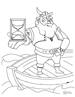 Funny Viking Cartoon coloring page free printable Sheet