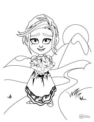 Pretty Princess Cartoon coloring page free printable Sheet