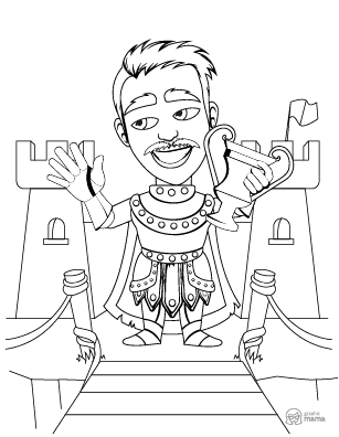 Handsome Prince Cartoon coloring page free printable Sheet