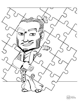 Fun Samurai Cartoon coloring page free printable Sheet