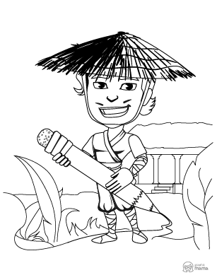 Cute Samurai Cartoon coloring page free printable Sheet